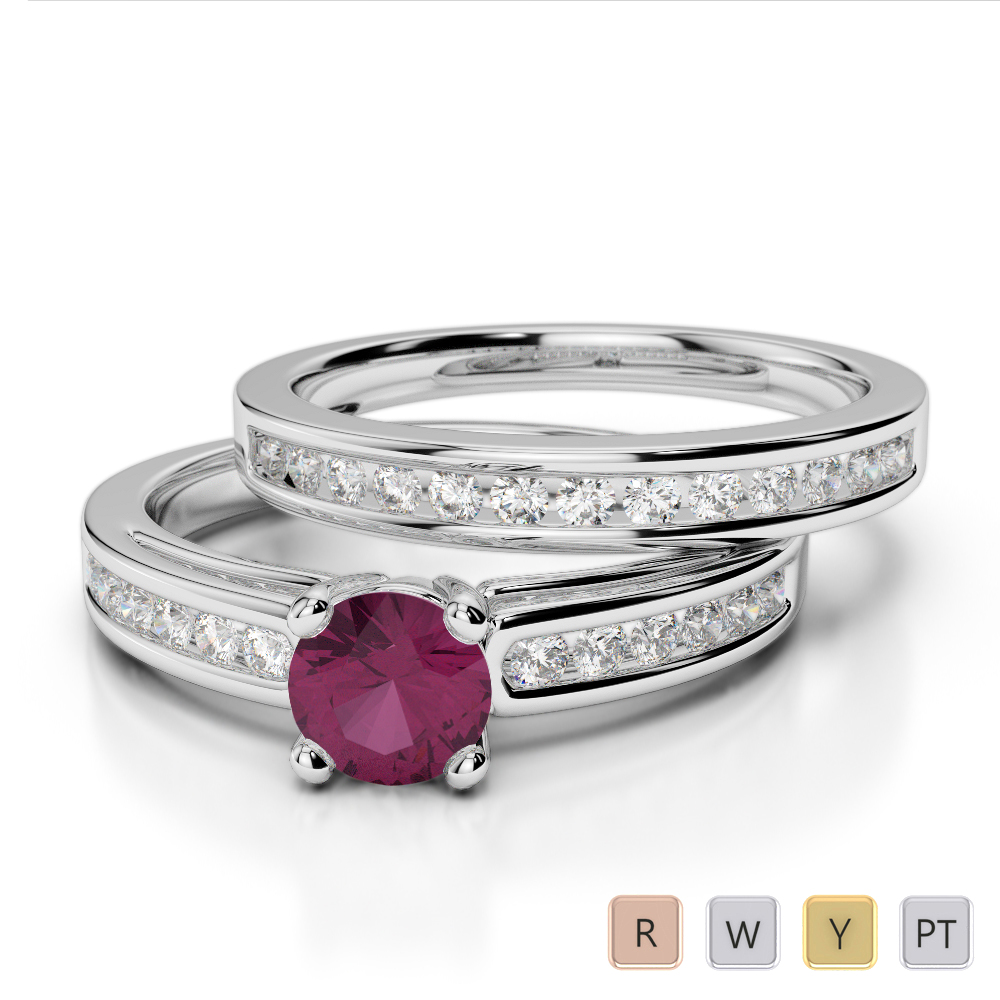Gold / Platinum Round cut Ruby and Diamond Bridal Set Ring AGDR-1159