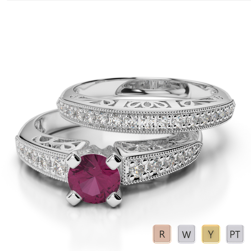 Gold / Platinum Round cut Ruby and Diamond Bridal Set Ring AGDR-1160