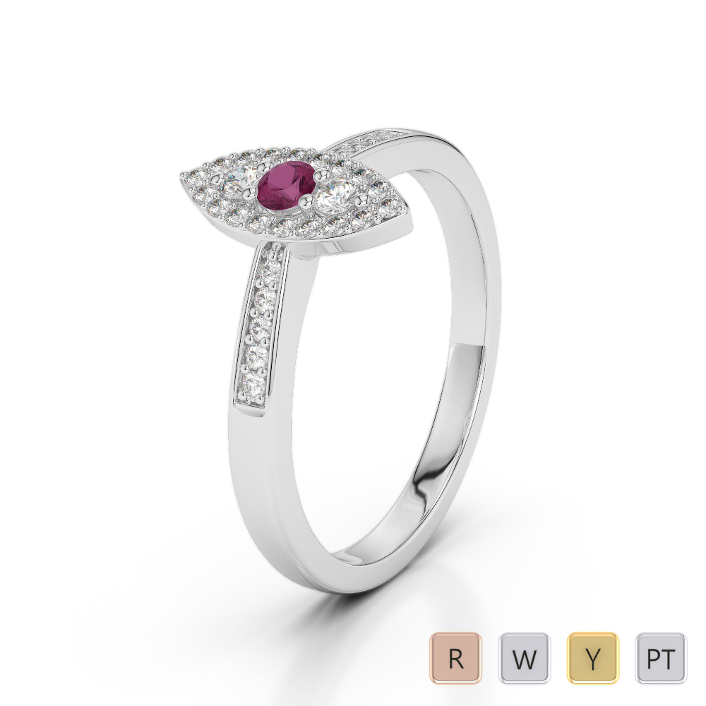 Gold / Platinum Round Cut Ruby and Diamond Engagement Ring AGDR-1161