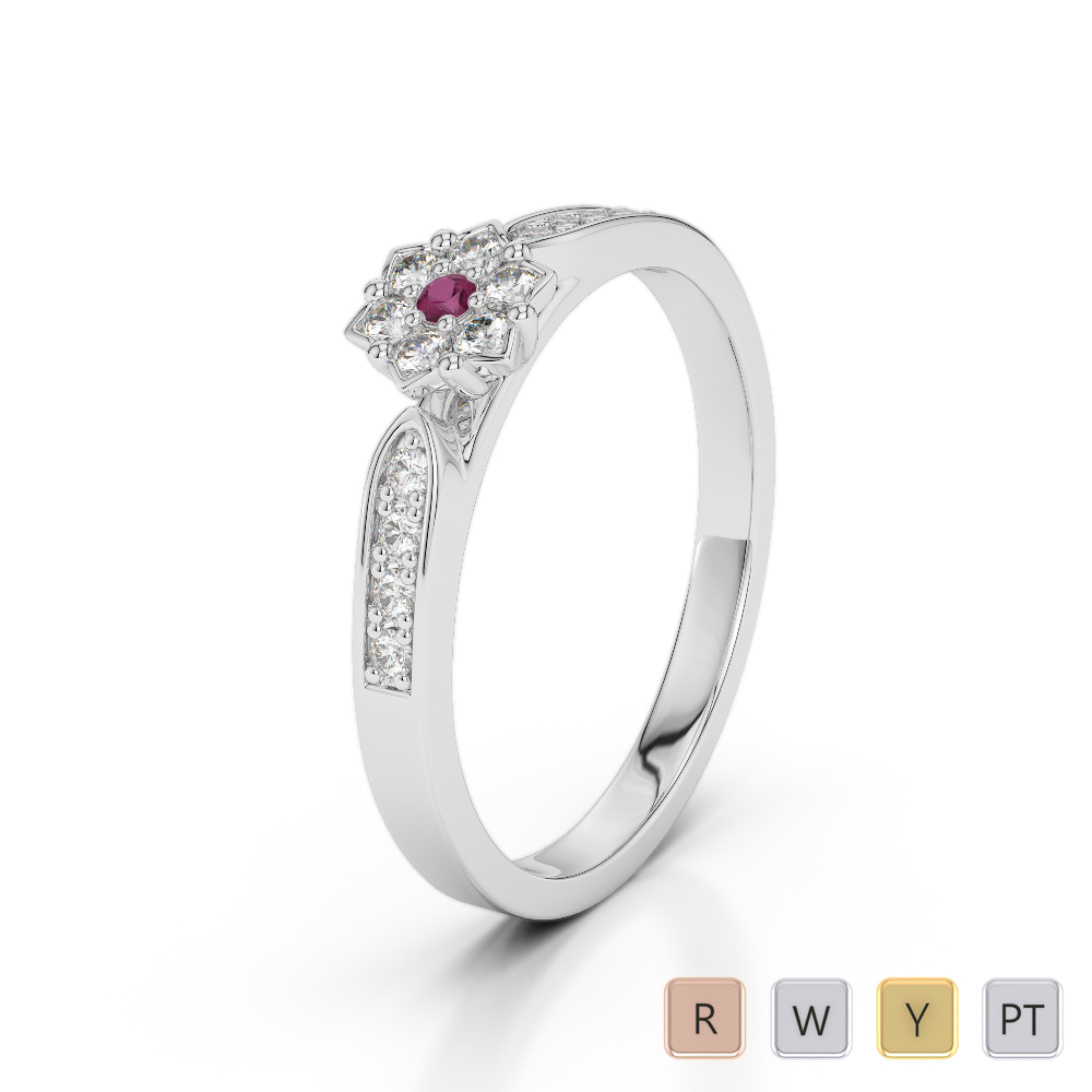 Gold / Platinum Round Cut Ruby and Diamond Engagement Ring AGDR-1162