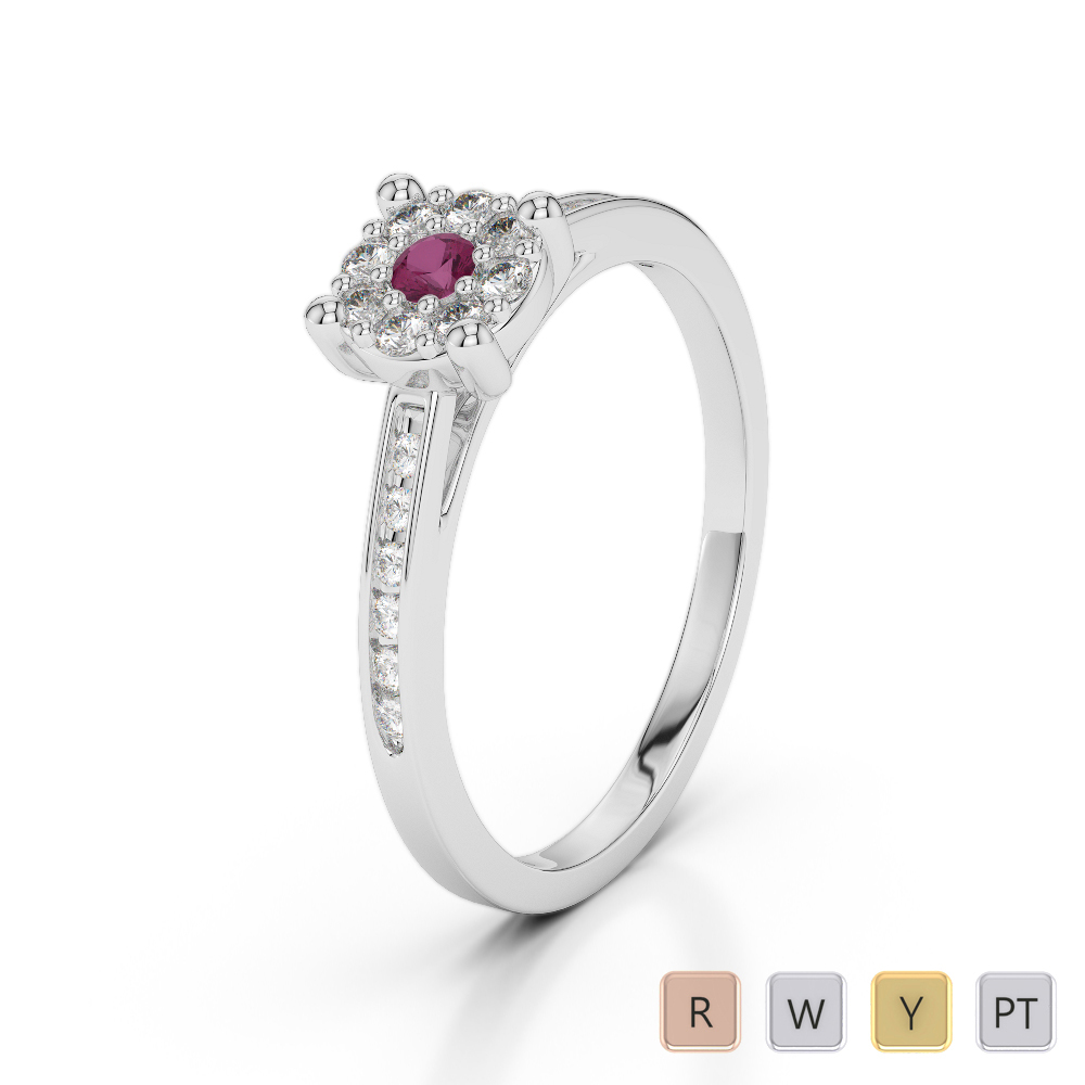 Gold / Platinum Round Cut Ruby and Diamond Engagement Ring AGDR-1163