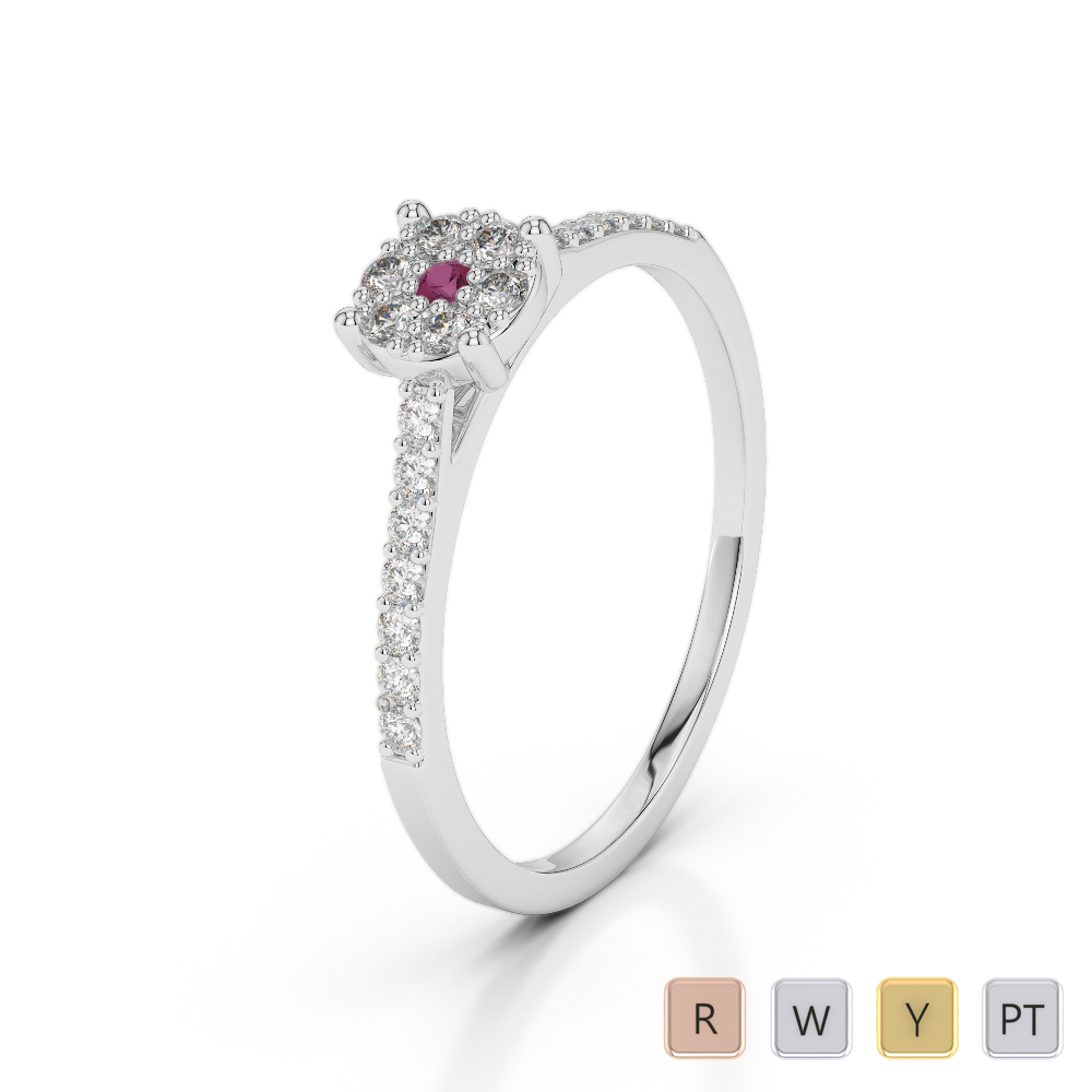 Gold / Platinum Round Cut Ruby and Diamond Engagement Ring AGDR-1164