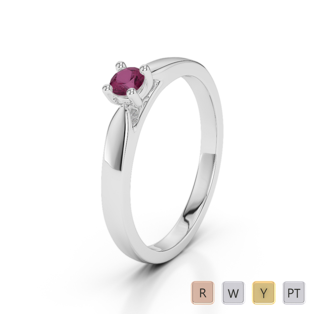 Gold / Platinum Round Cut Ruby Engagement Ring AGDR-1166
