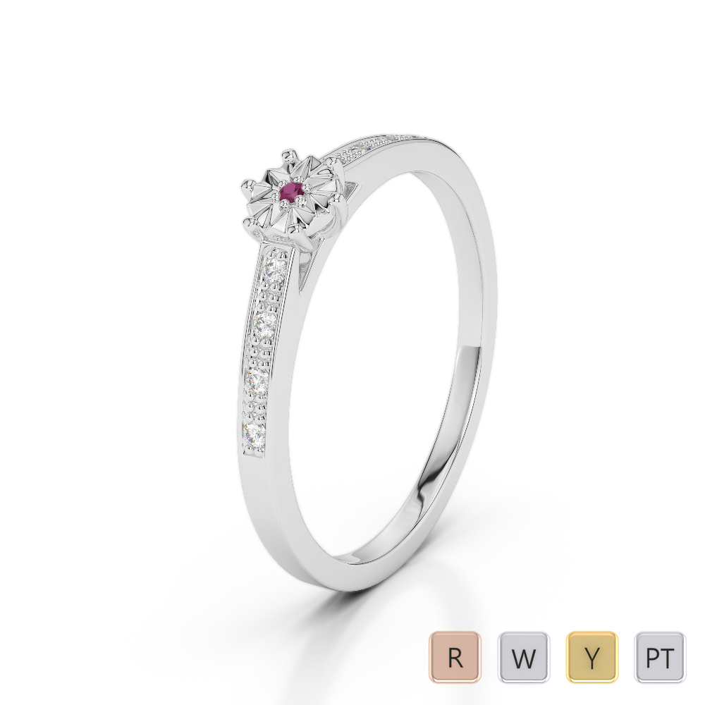 Gold / Platinum Round Cut Ruby and Diamond Engagement Ring AGDR-1167