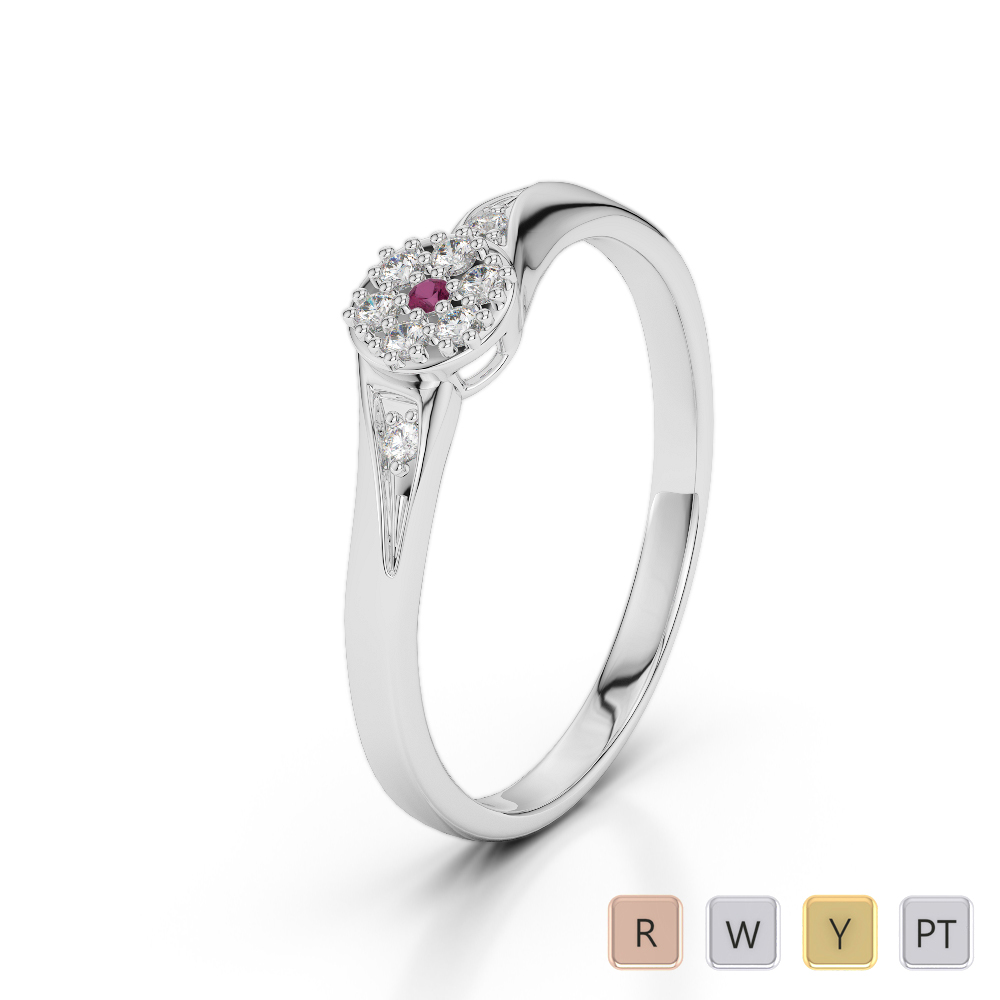 Gold / Platinum Round Cut Ruby and Diamond Engagement Ring AGDR-1168