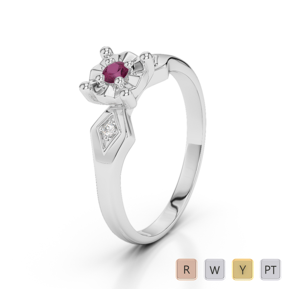 Gold / Platinum Round Cut Ruby and Diamond Engagement Ring AGDR-1169