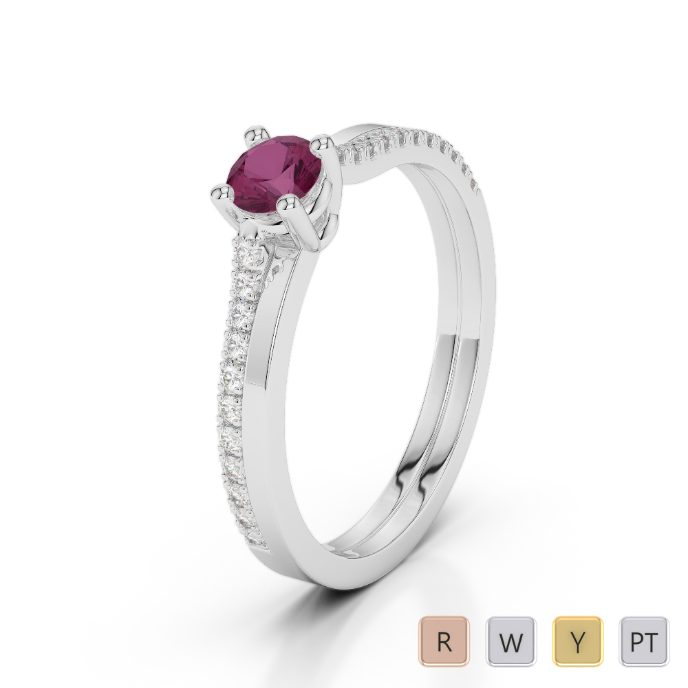 Gold / Platinum Round Cut Ruby and Diamond Engagement Ring AGDR-1170