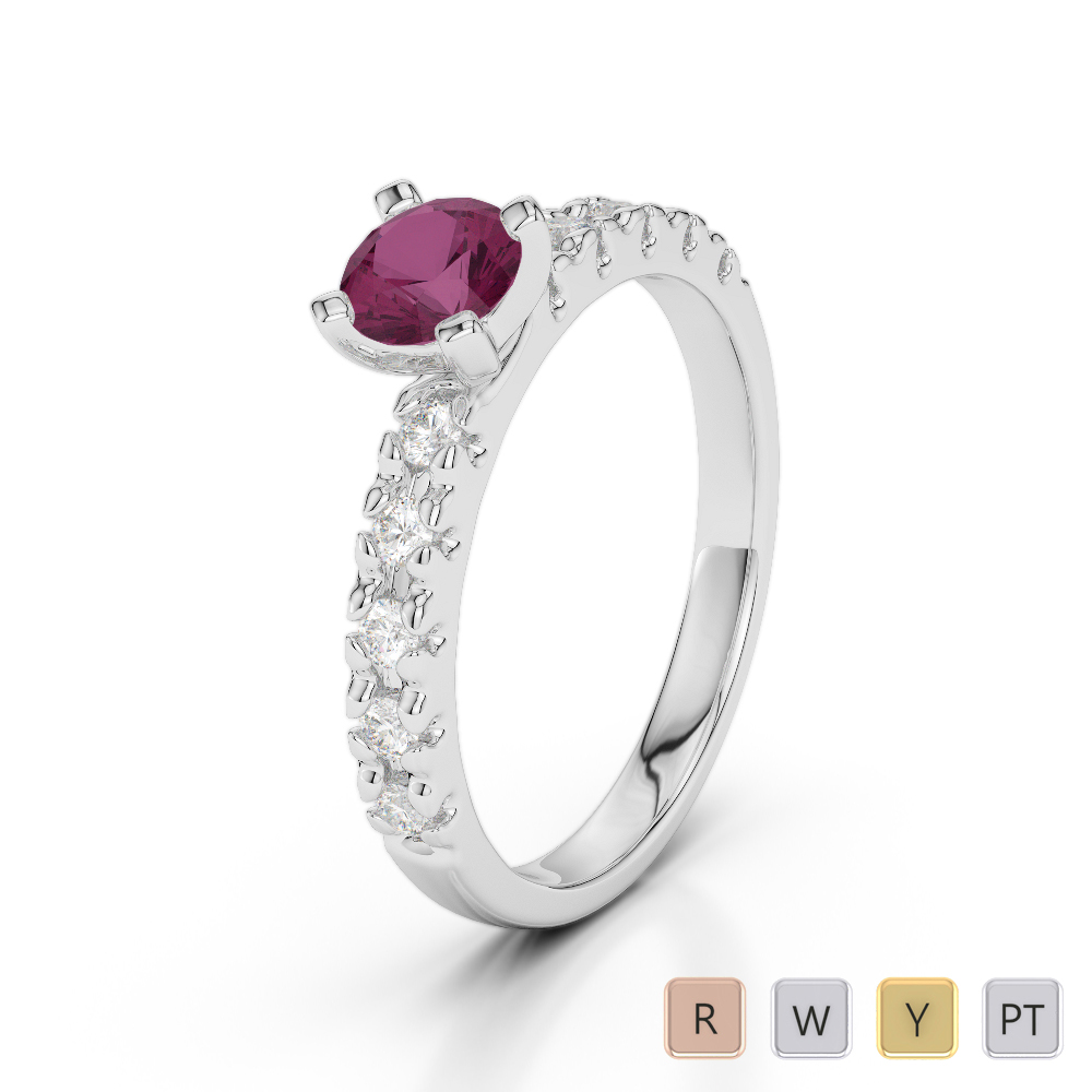 Gold / Platinum Round Cut Ruby and Diamond Engagement Ring AGDR-1171
