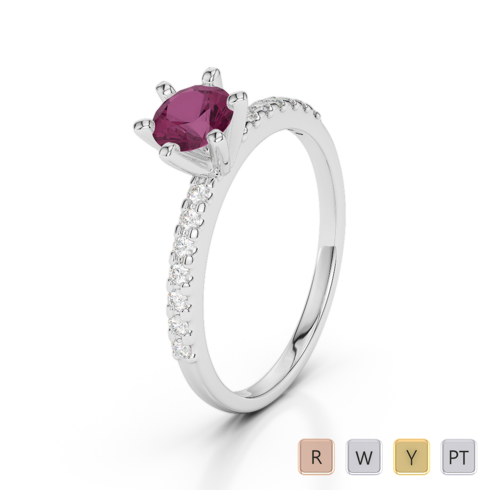 Gold / Platinum Round Cut Ruby and Diamond Engagement Ring AGDR-1172