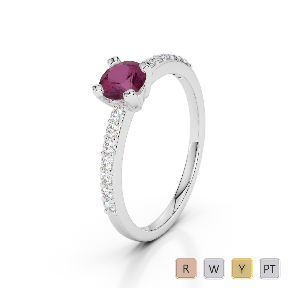 Gold / Platinum Round Cut Ruby and Diamond Engagement Ring AGDR-1173