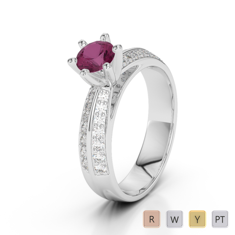 Gold / Platinum Round Cut Ruby and Diamond Engagement Ring AGDR-1174