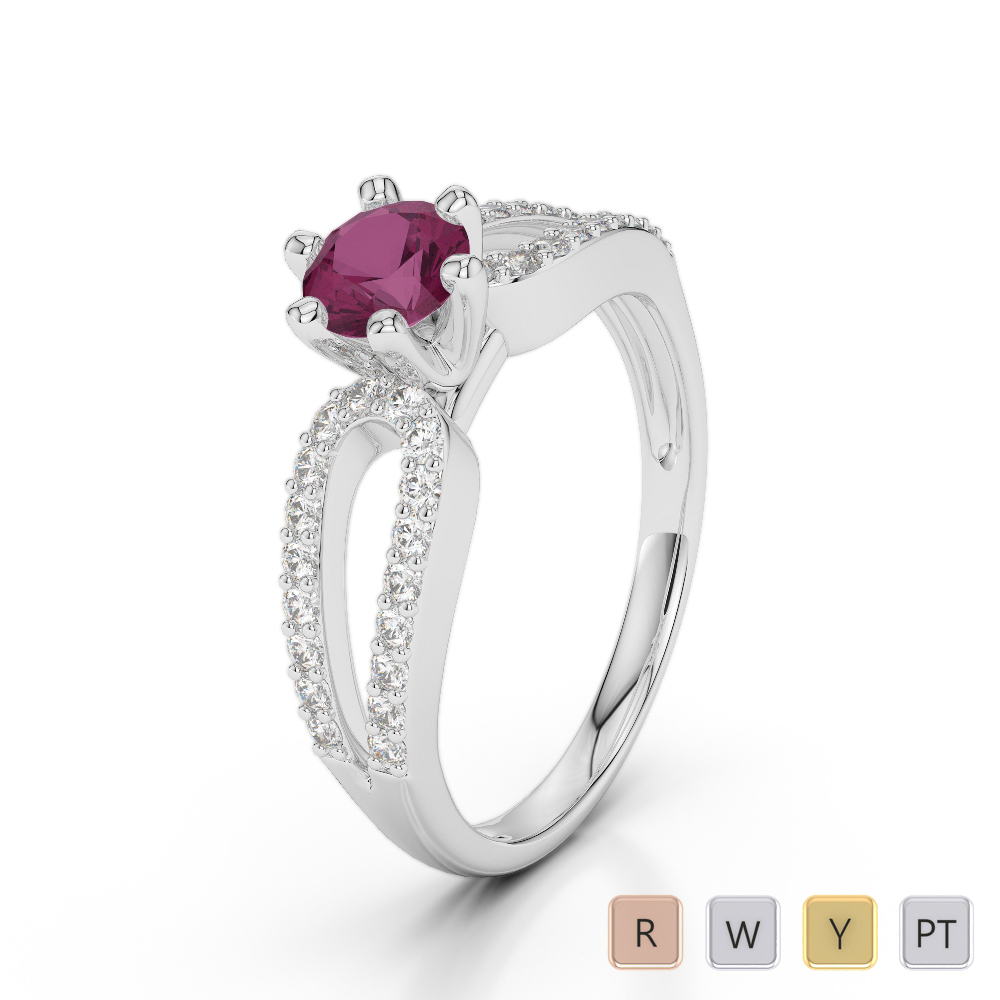 Gold / Platinum Round Cut Ruby and Diamond Engagement Ring AGDR-1175