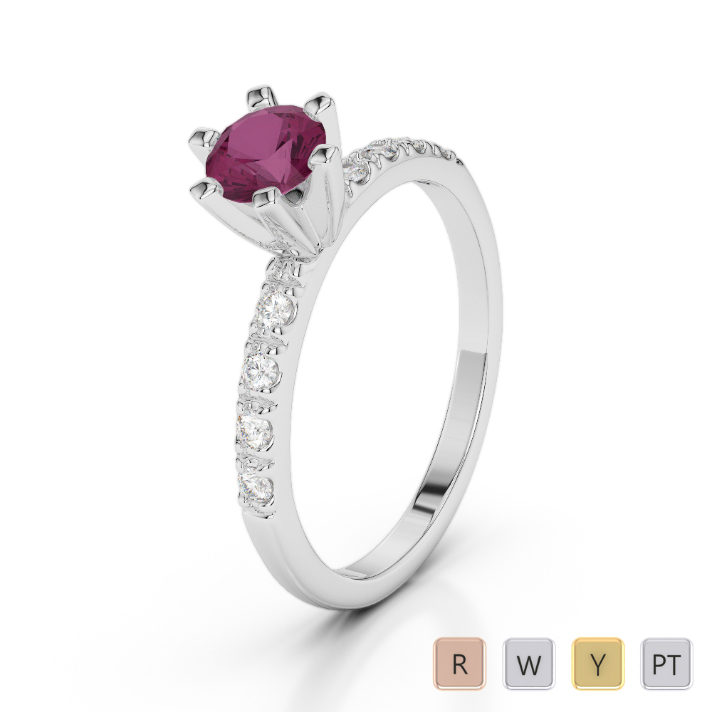 Gold / Platinum Round Cut Ruby and Diamond Engagement Ring AGDR-1176