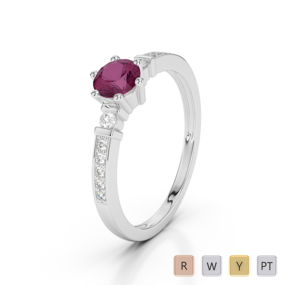 Gold / Platinum Round Cut Ruby and Diamond Engagement Ring AGDR-1177
