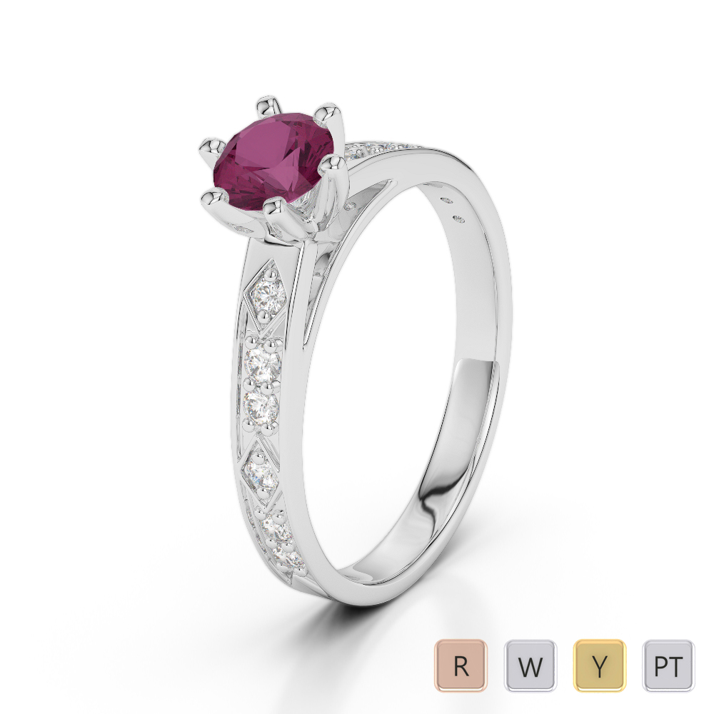 Gold / Platinum Round Cut Ruby and Diamond Engagement Ring AGDR-1178