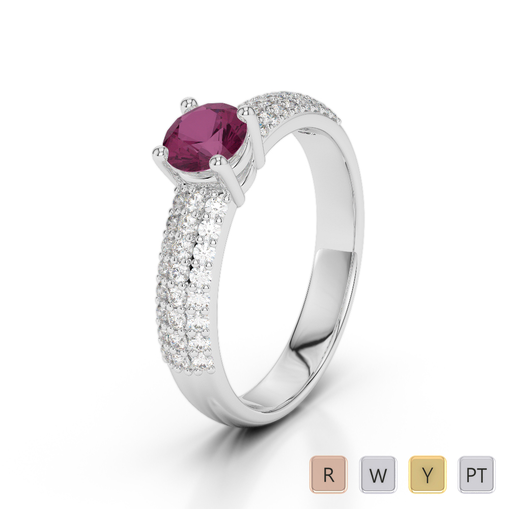 Gold / Platinum Round Cut Ruby and Diamond Engagement Ring AGDR-1179