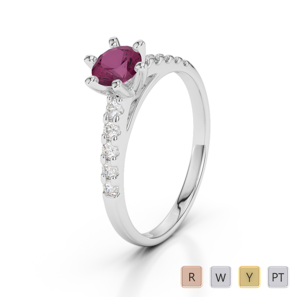 Gold / Platinum Round Cut Ruby and Diamond Engagement Ring AGDR-1180