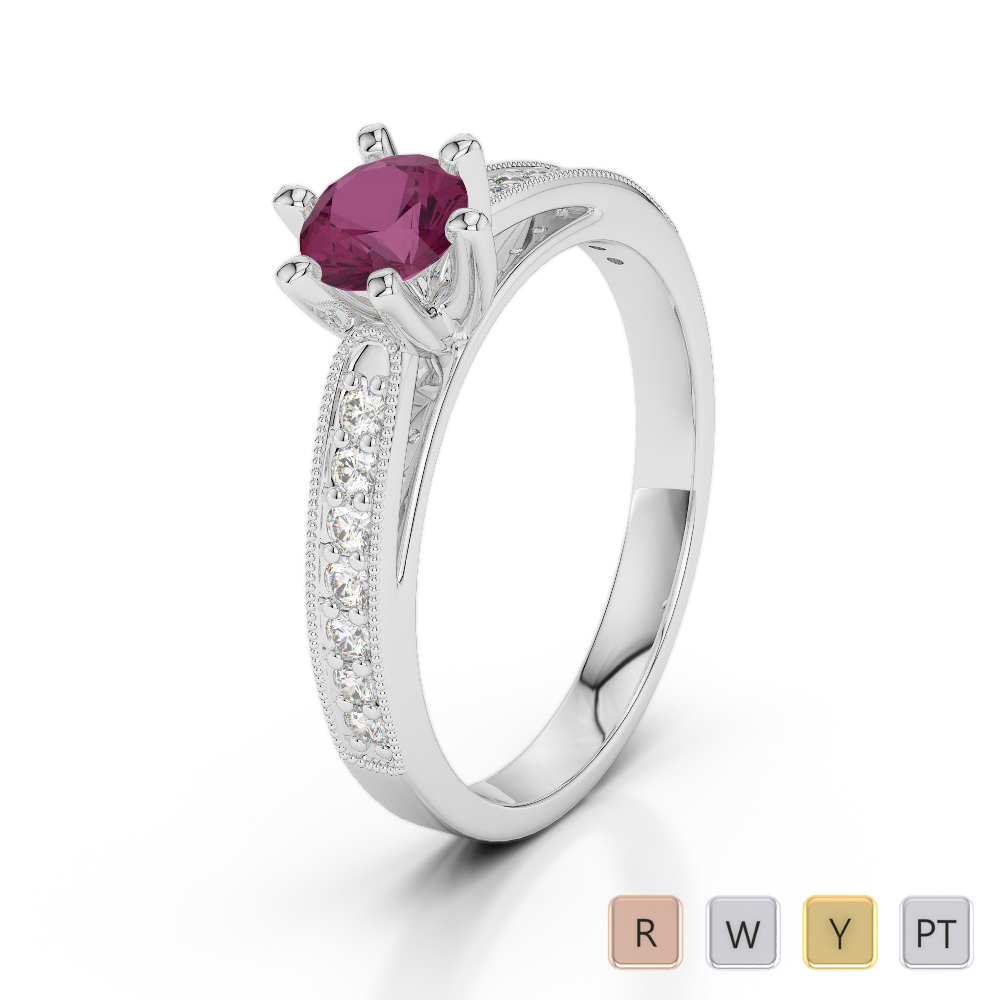 Gold / Platinum Round Cut Ruby and Diamond Engagement Ring AGDR-1181