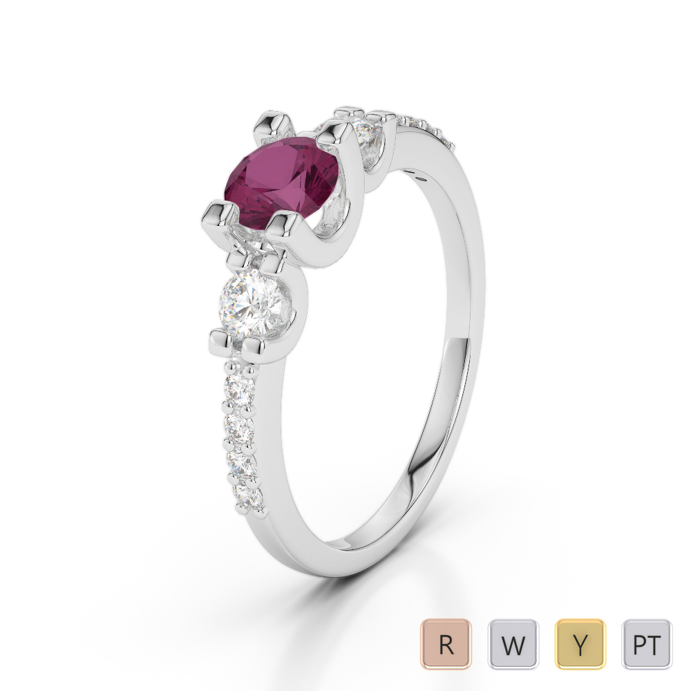 Gold / Platinum Round Cut Ruby and Diamond Engagement Ring AGDR-1182