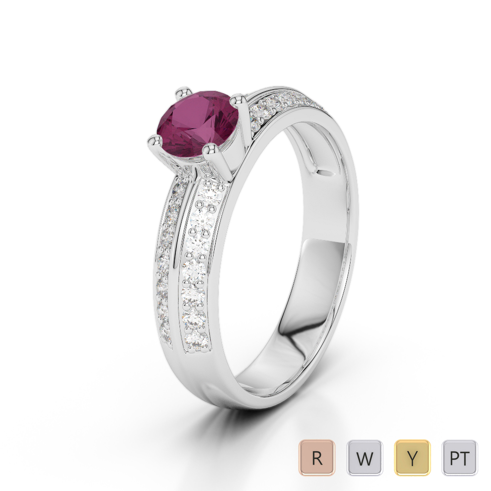 Gold / Platinum Round Cut Ruby and Diamond Engagement Ring AGDR-1183