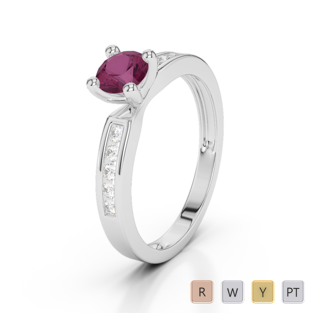 Gold / Platinum Round Cut Ruby and Diamond Engagement Ring AGDR-1184