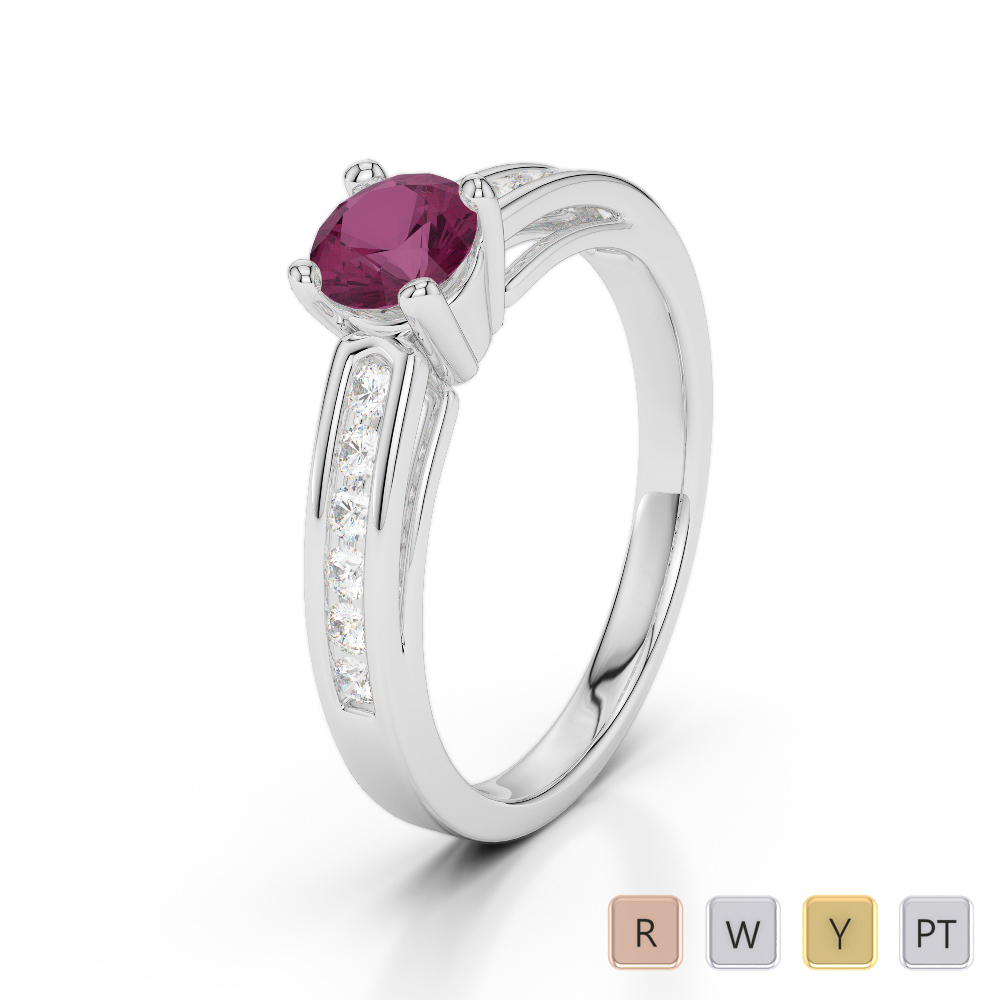 Gold / Platinum Round Cut Ruby and Diamond Engagement Ring AGDR-1186