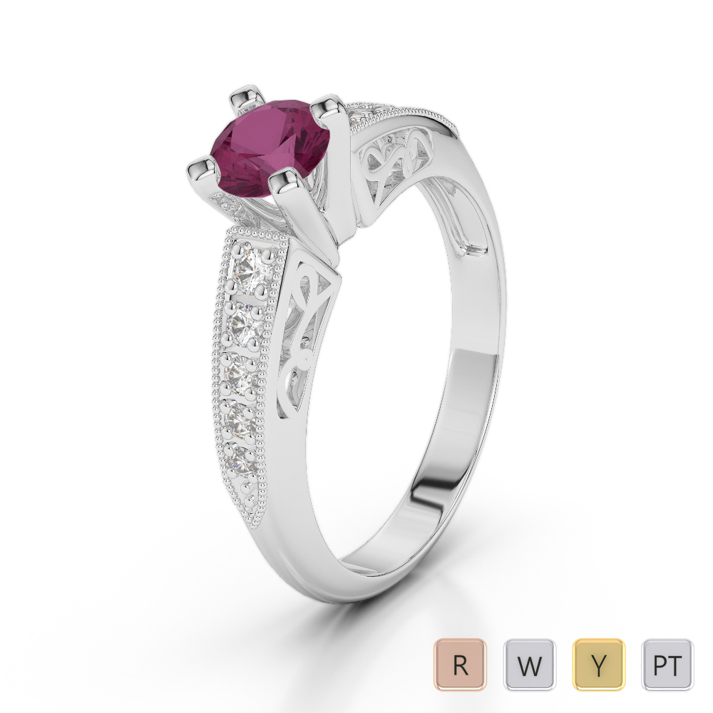 Gold / Platinum Round Cut Ruby and Diamond Engagement Ring AGDR-1187