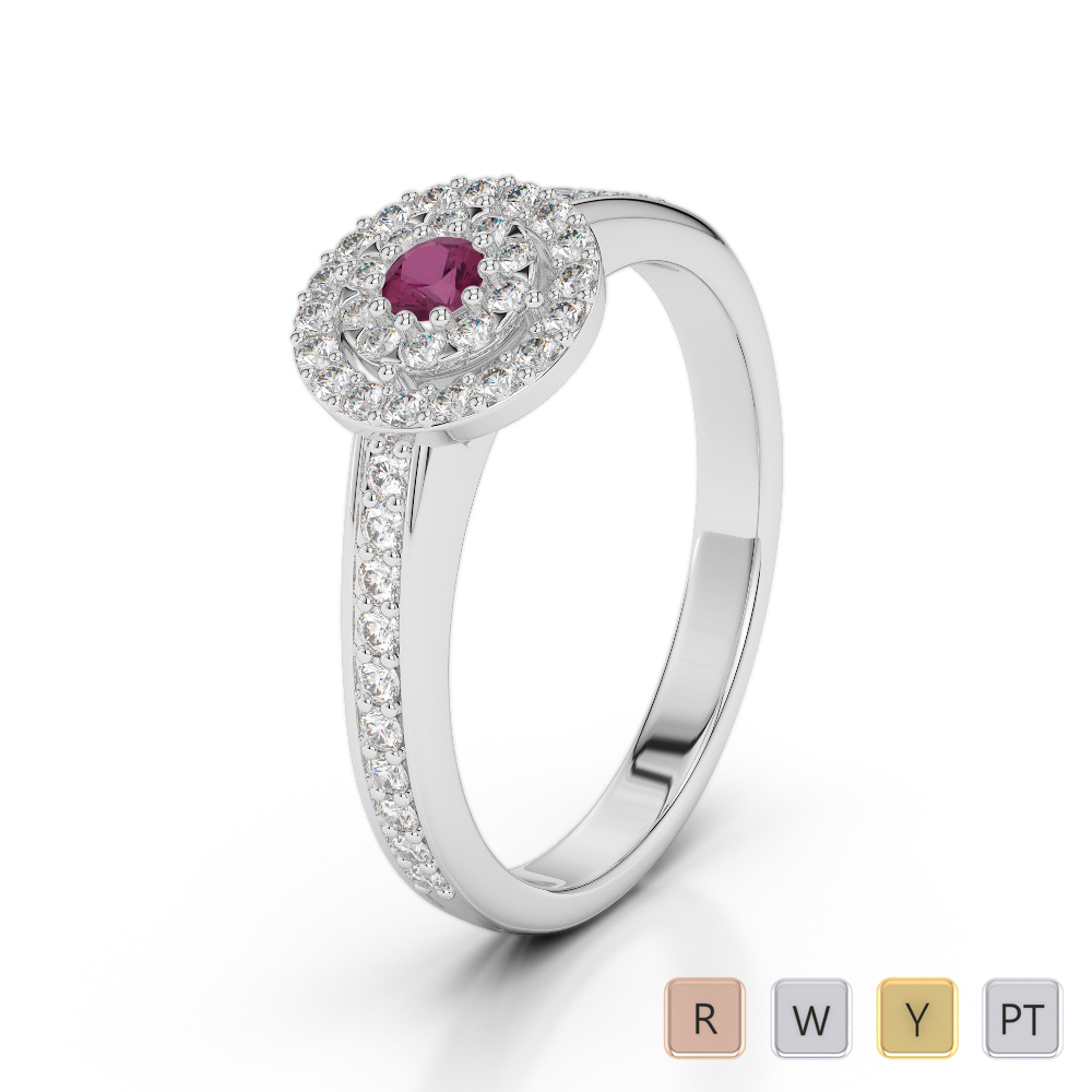 Gold / Platinum Round Cut Ruby and Diamond Engagement Ring AGDR-1188