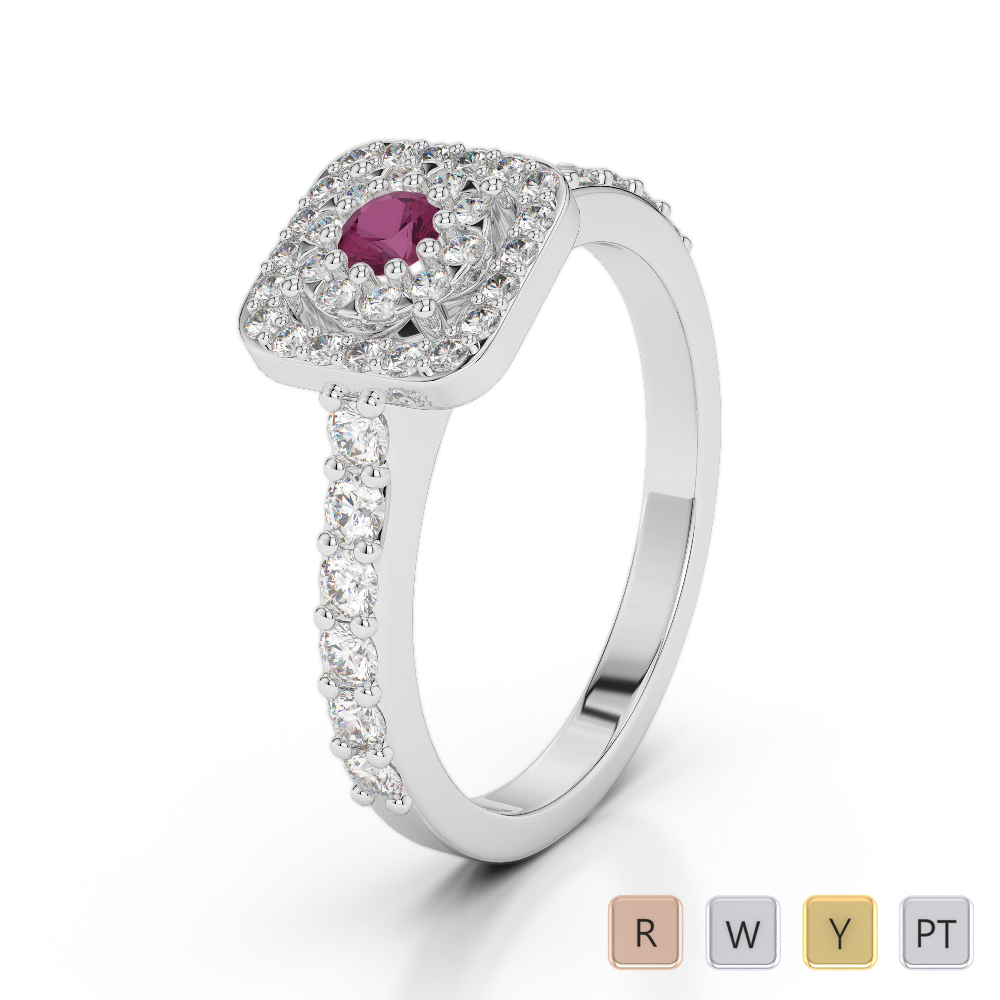 Gold / Platinum Round Cut Ruby and Diamond Engagement Ring AGDR-1189