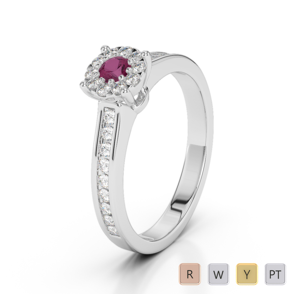 Gold / Platinum Round Cut Ruby and Diamond Engagement Ring AGDR-1190