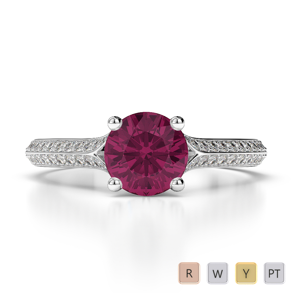 Gold / Platinum Round Cut Ruby and Diamond Engagement Ring AGDR-1200