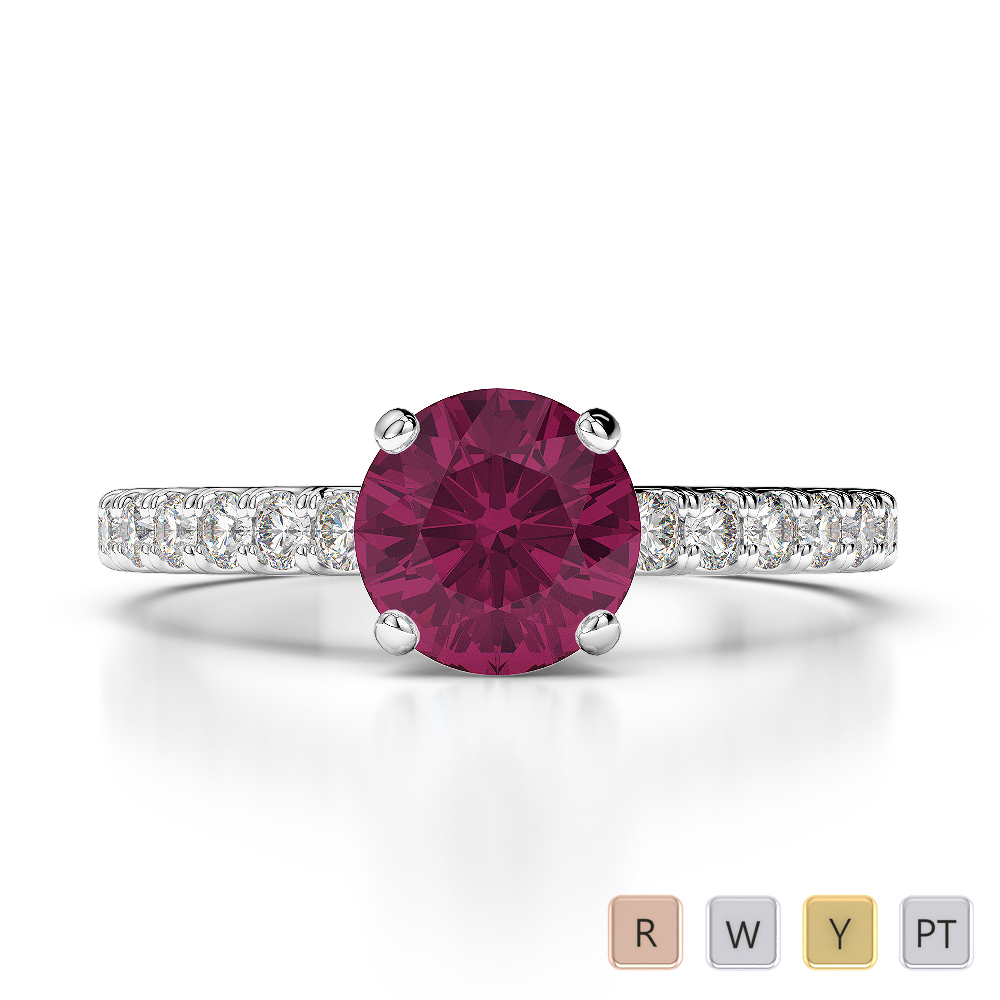 Gold / Platinum Round Cut Ruby and Diamond Engagement Ring AGDR-1201