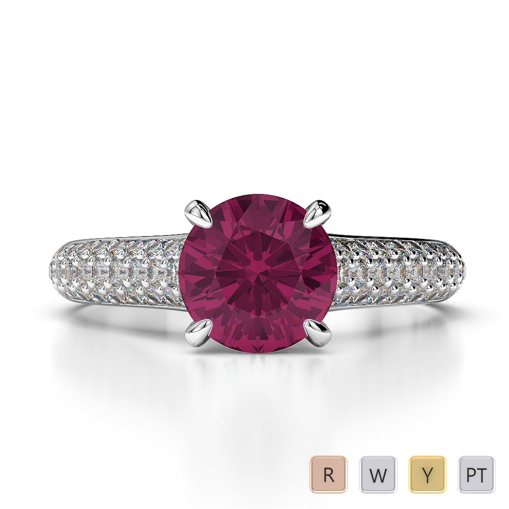 Gold / Platinum Round Cut Ruby and Diamond Engagement Ring AGDR-1203