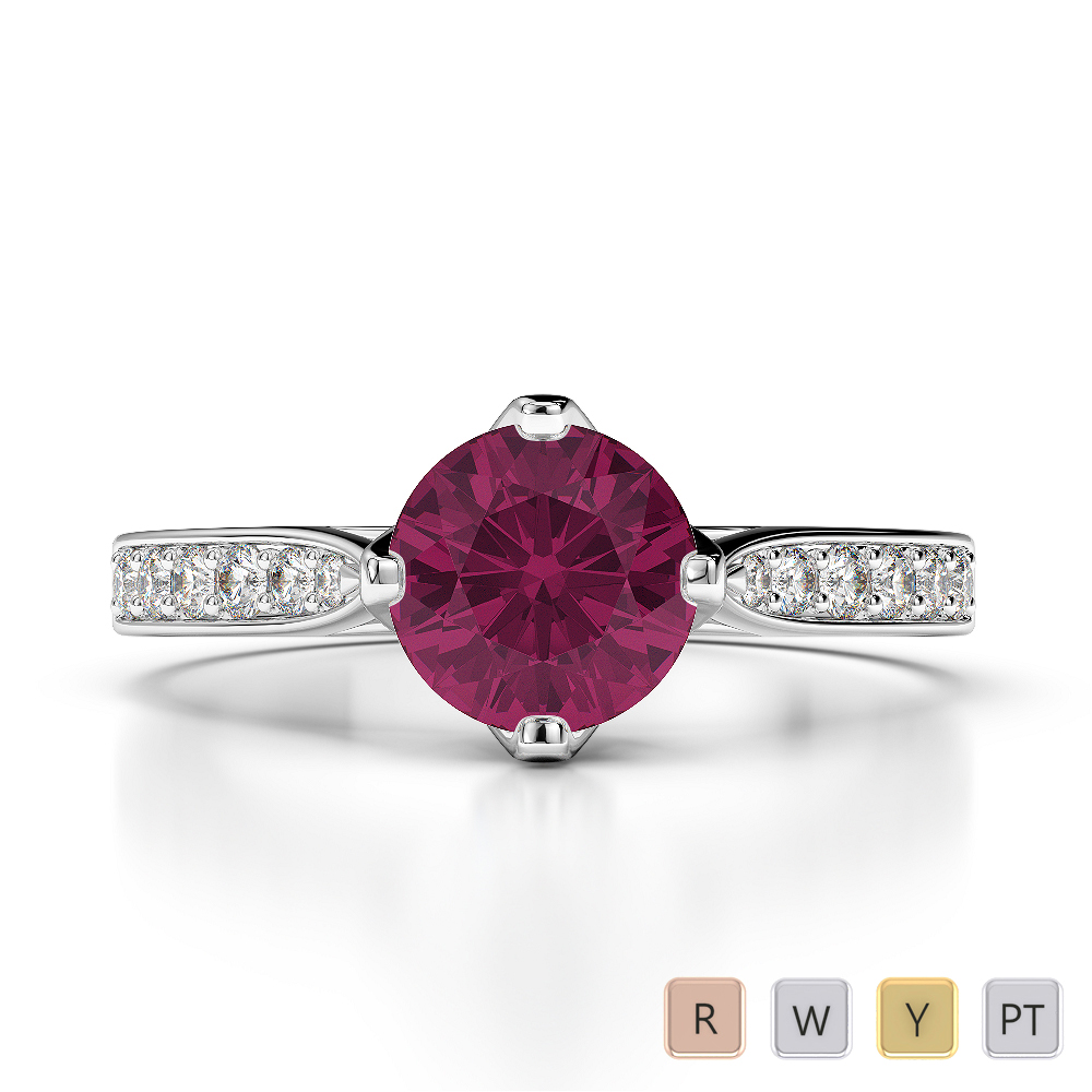 Gold / Platinum Round Cut Ruby and Diamond Engagement Ring AGDR-1204