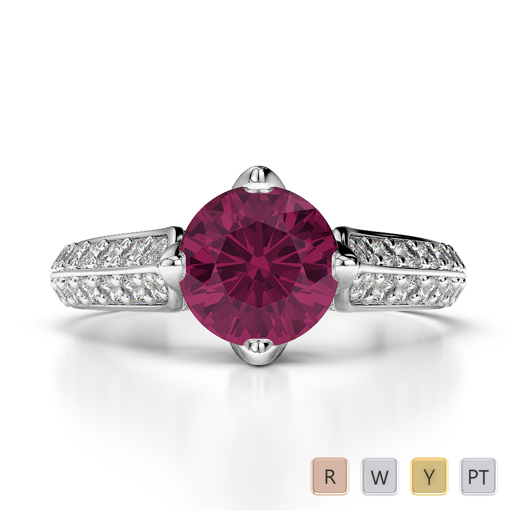 Gold / Platinum Round Cut Ruby and Diamond Engagement Ring AGDR-1205