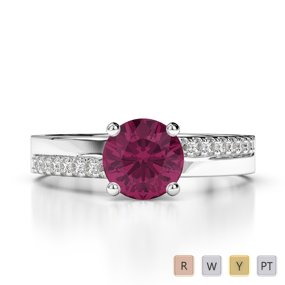 Gold / Platinum Round Cut Ruby and Diamond Engagement Ring AGDR-1206