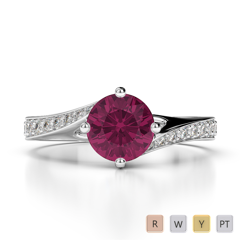 Gold / Platinum Round Cut Ruby and Diamond Engagement Ring AGDR-1207