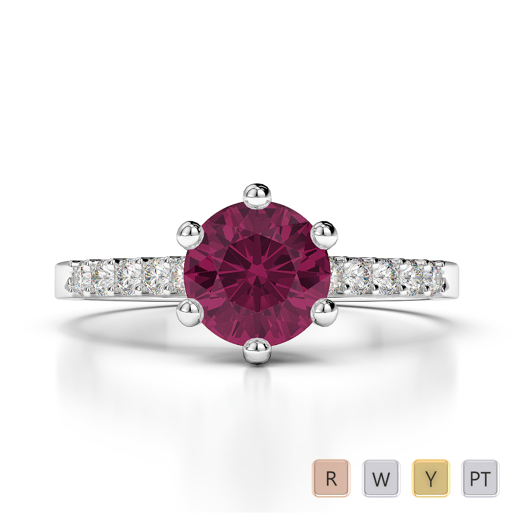 Gold / Platinum Round Cut Ruby and Diamond Engagement Ring AGDR-1208
