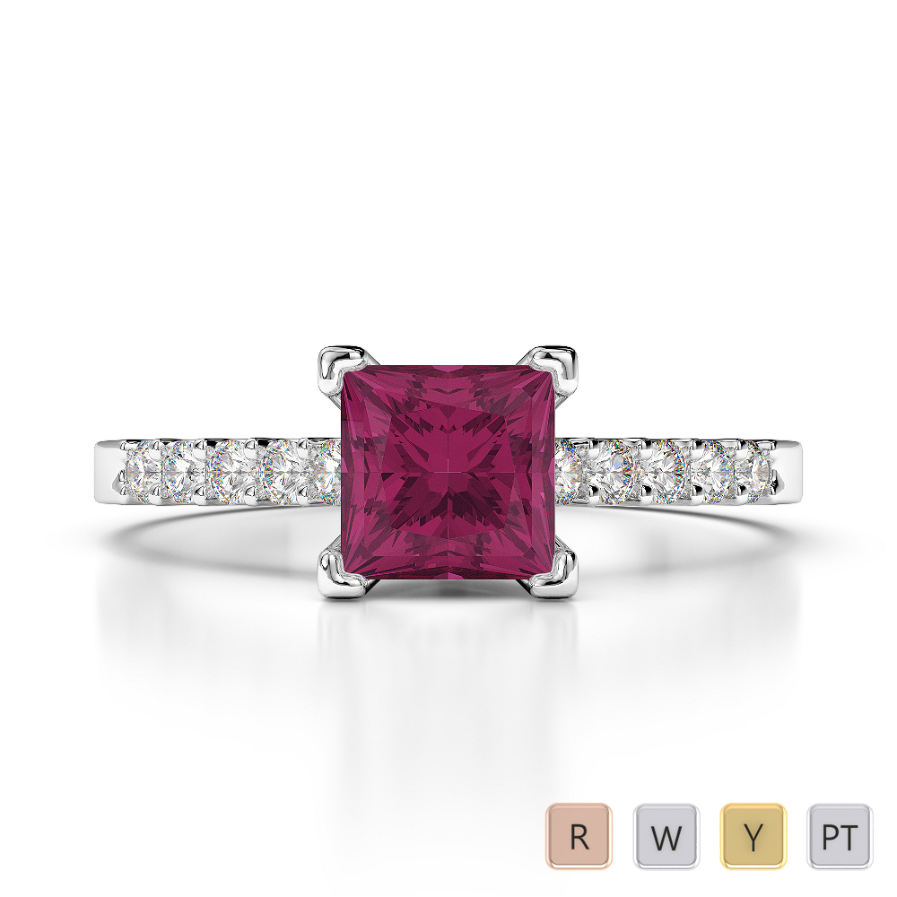 Gold / Platinum Round and Princess Cut Ruby and Diamond Engagement Ring AGDR-1210