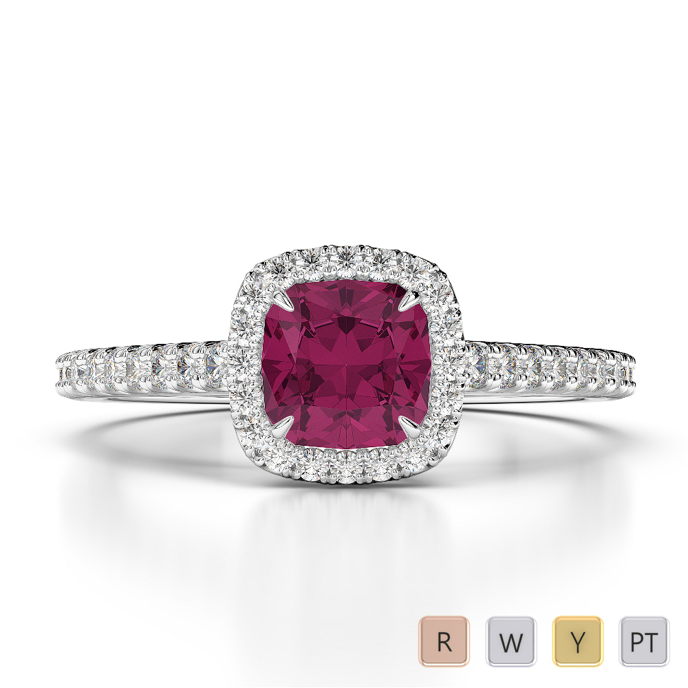 Gold / Platinum Round and Cushion Cut Ruby and Diamond Engagement Ring AGDR-1212