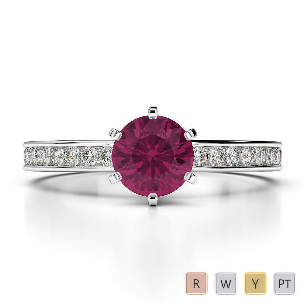 Gold / Platinum Round Cut Ruby and Diamond Engagement Ring AGDR-1214