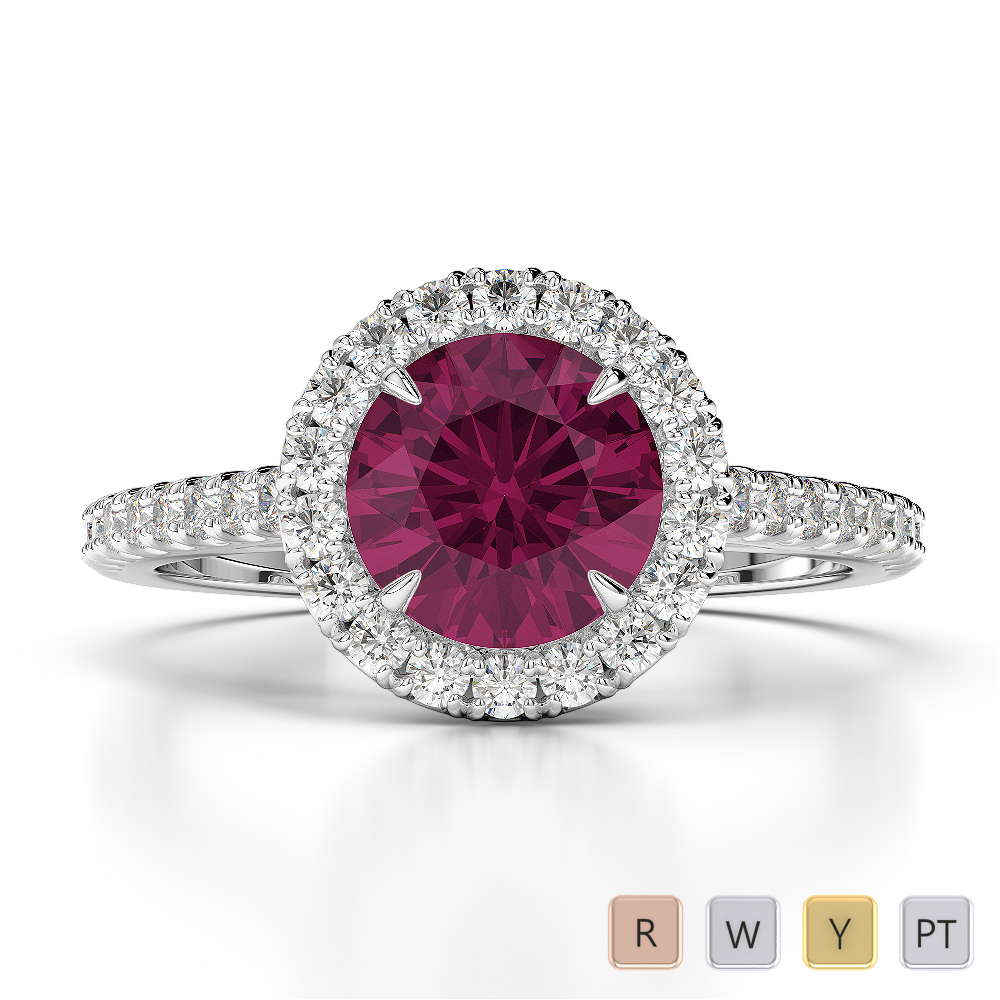 Gold / Platinum Round Cut Ruby and Diamond Engagement Ring AGDR-1215