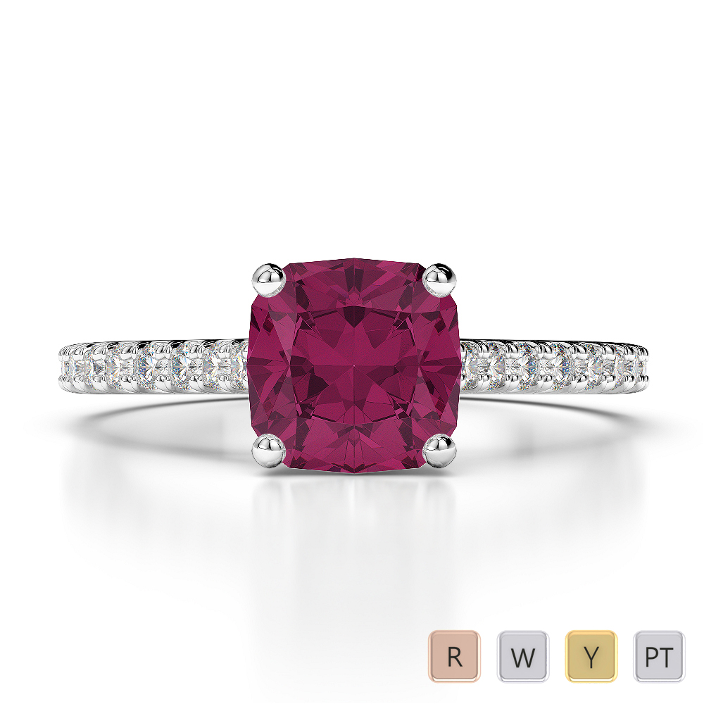 Gold / Platinum Round and Cushion Cut Ruby and Diamond Engagement Ring AGDR-1216