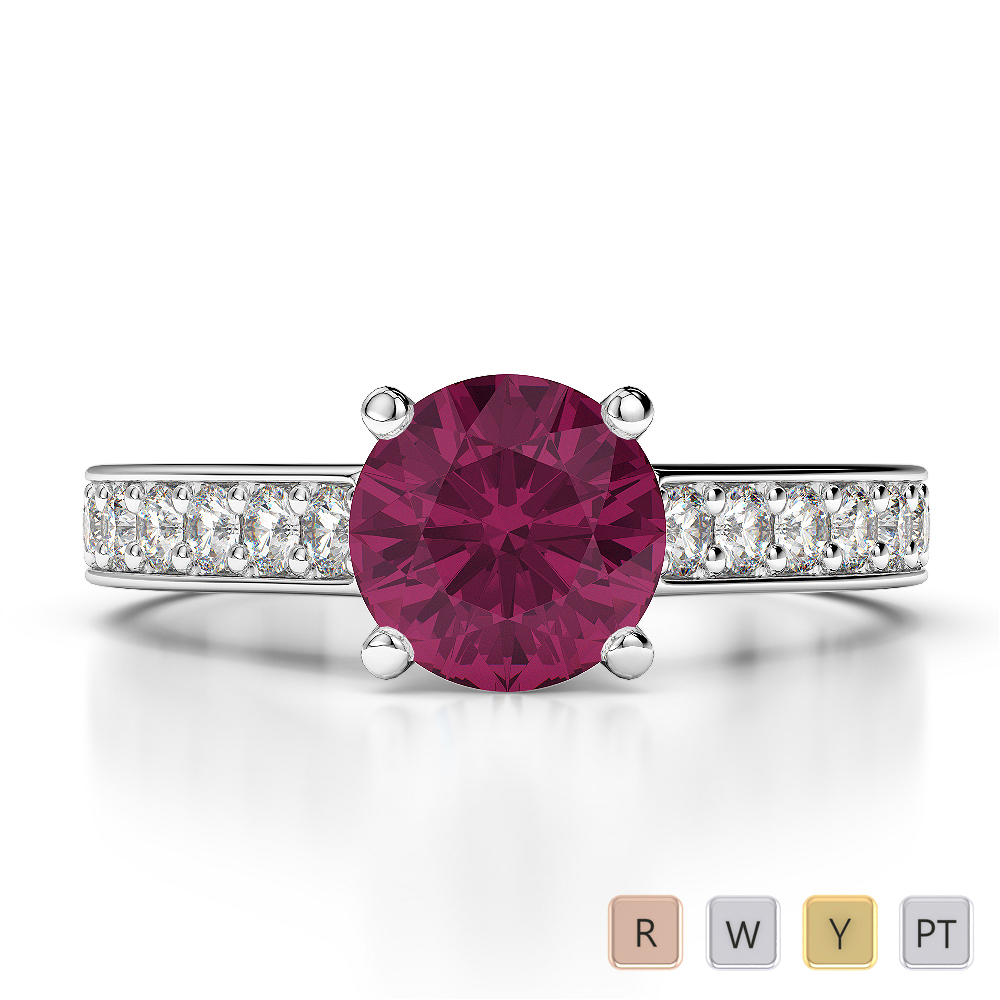 Gold / Platinum Round Cut Ruby and Diamond Engagement Ring AGDR-1219