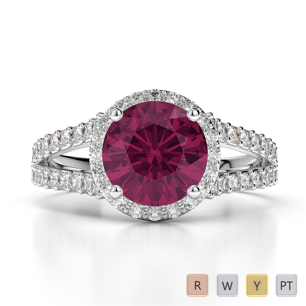 Gold / Platinum Round Cut Ruby and Diamond Engagement Ring AGDR-1220