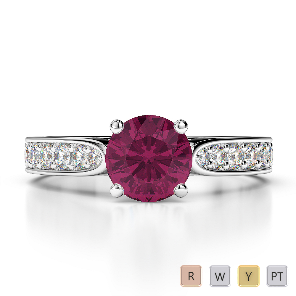 Gold / Platinum Round Cut Ruby and Diamond Engagement Ring AGDR-1221
