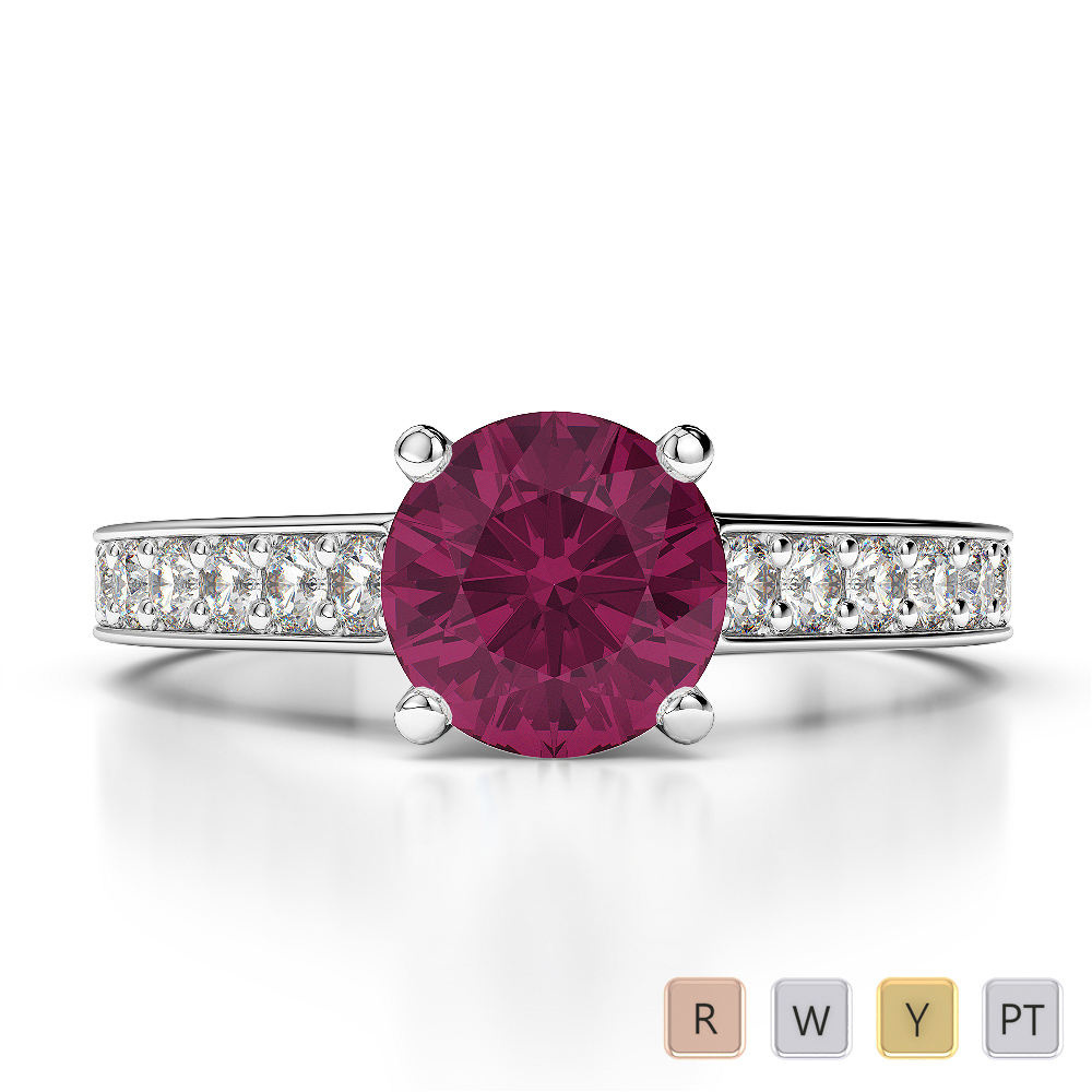 Gold / Platinum Round Cut Ruby and Diamond Engagement Ring AGDR-1222