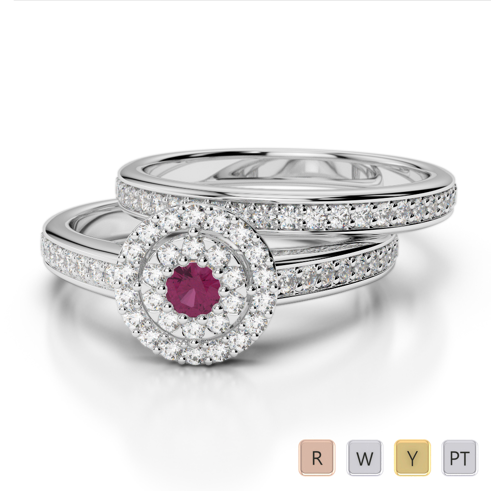 Gold / Platinum Round cut Ruby and Diamond Bridal Set Ring AGDR-1239