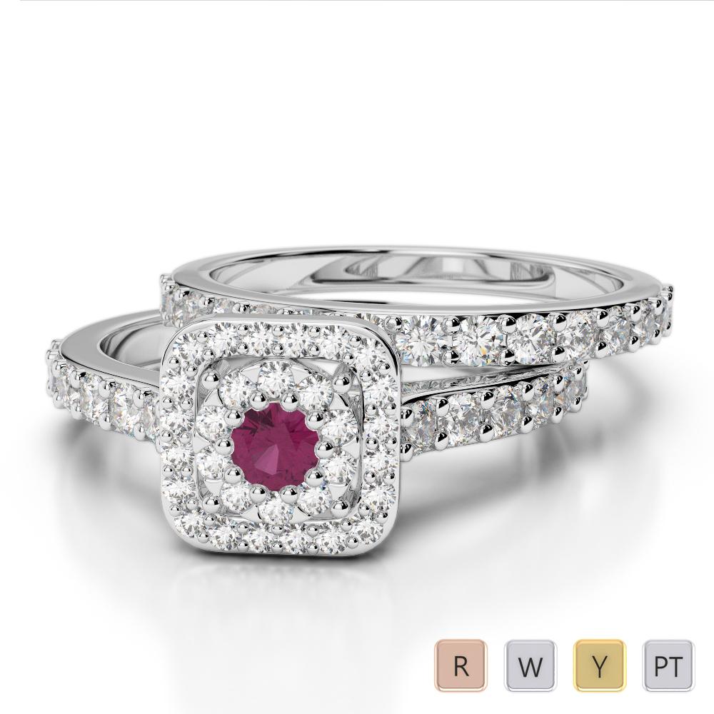 Gold / Platinum Round cut Ruby and Diamond Bridal Set Ring AGDR-1246
