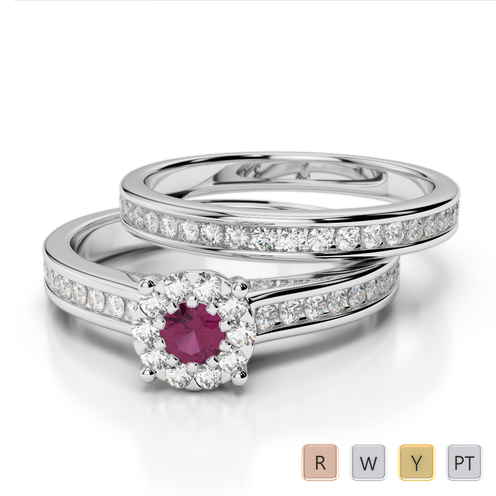 Gold / Platinum Round cut Ruby and Diamond Bridal Set Ring AGDR-1339